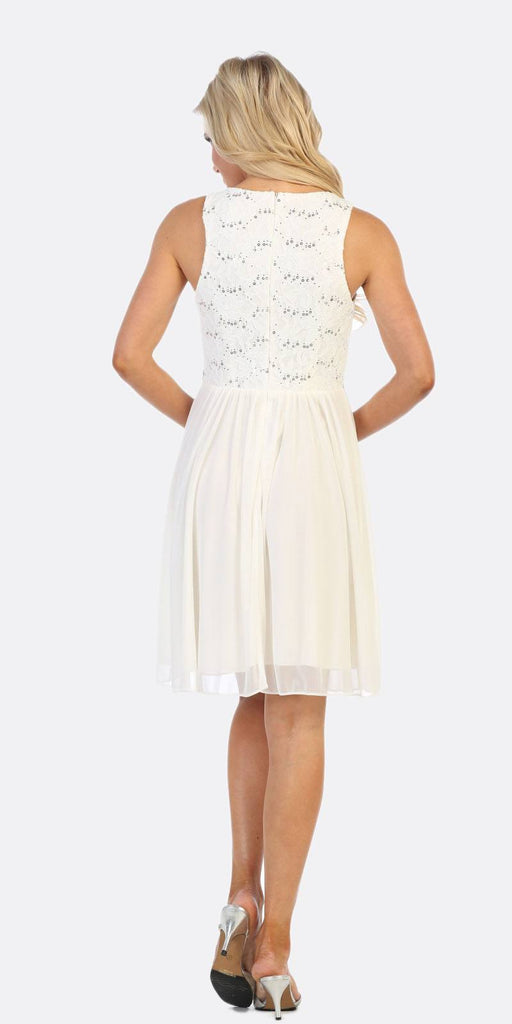 Celavie 6344 White Sleeveless Short Party Lace Dress A-line