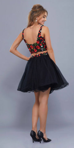 Two-Piece Short Homecoming Dress Embroidered Crop Top Red-Black