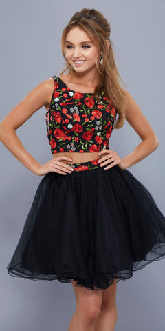 Two Piece Mermaid Prom Gown Beaded Crop Top Black/Fuchsia