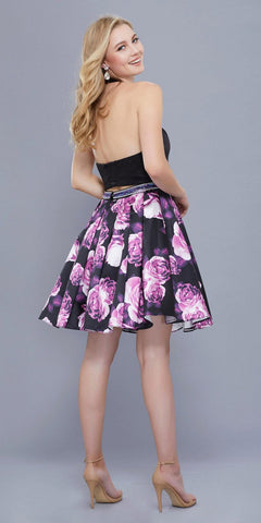 Black Floral Print Skirt Two-Piece Short Prom Dress Halter Crop Top