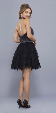 Lace Skirt Short Halter Homecoming Dress Embellished Waist Black