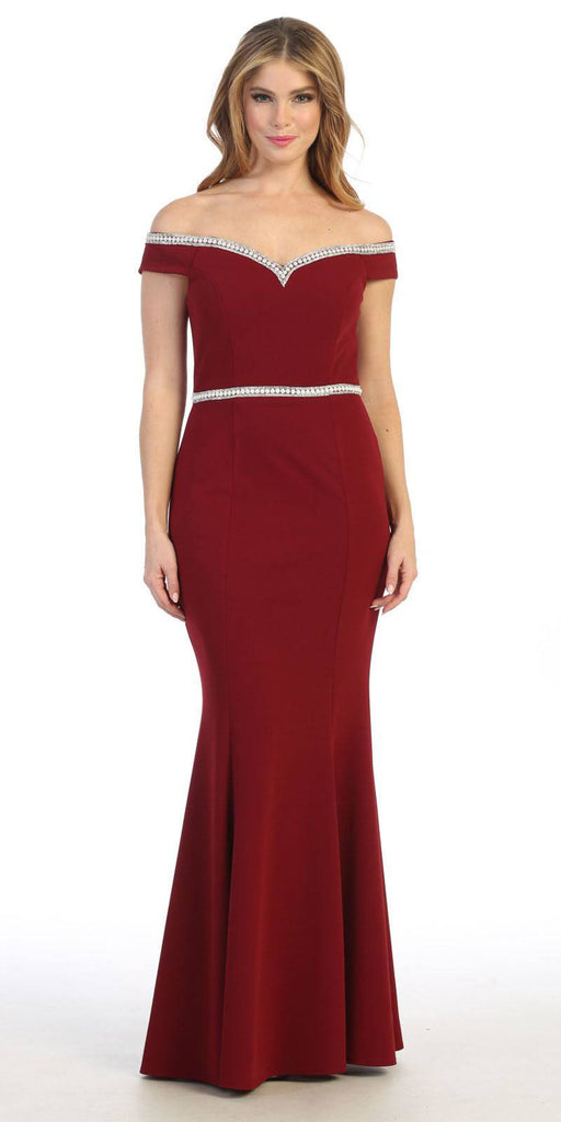 Off-Shoulder Mermaid Long Prom Dress Burgundy