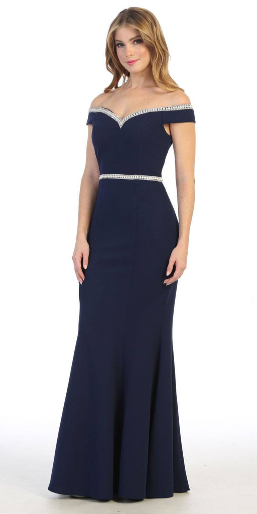 Off-Shoulder Mermaid Long Prom Dress Navy Blue