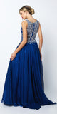 Juliet 635 Floor Length Prom Gown Rhinestone Top Sheer Back Navy Blue