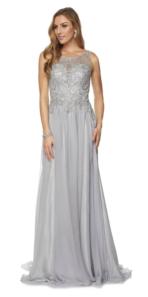Juliet 635 Floor Length Prom Gown Rhinestone Top Sheer Back Silver