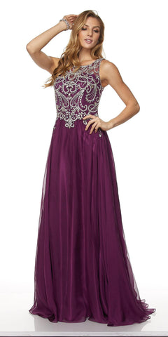 Juliet 635 Floor Length Prom Gown Rhinestone Top Sheer Back Wine