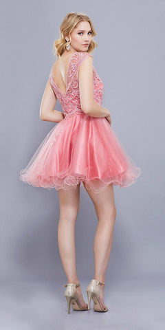Cap Sleeves Poofy Short Homecoming Dress Appliqued Bodice Rose