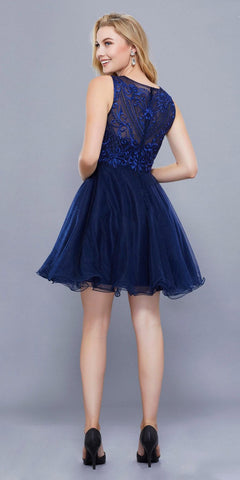 Embroidered Short Prom Dress Illusion Neckline Sleeveless Navy Blue