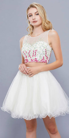Ivory Two-Piece Homecoming Dress Embroidered Crop Top