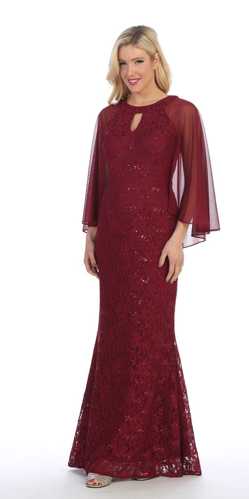 Burgundy Long Formal Dress Keyhole Neck with Attached Cape
