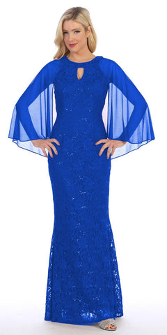 Royal Blue Long Formal Dress Keyhole Neck with Attached Cape
