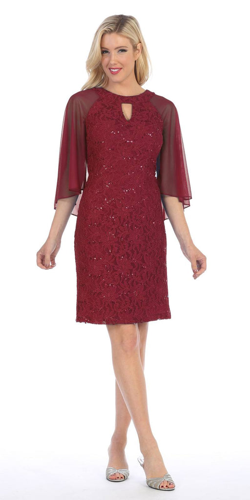Burgundy Wedding Guest Dress with Flutter Sleeves