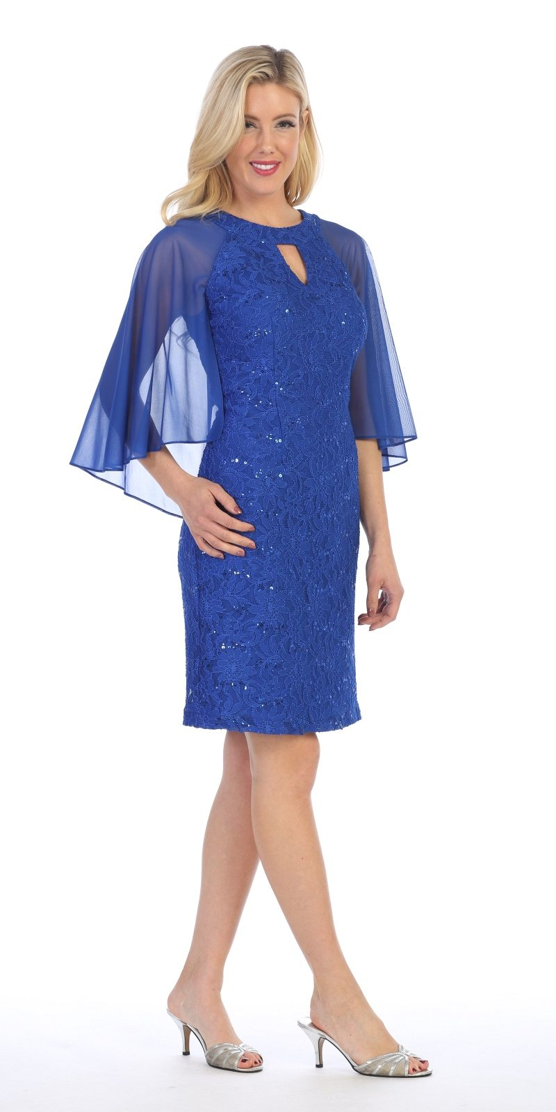 royal blue wedding guest dress celavie 6352s royal blue wedding guest dress with flutter 7165