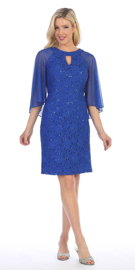 Royal Blue Wedding Guest Dress with Flutter Sleeves