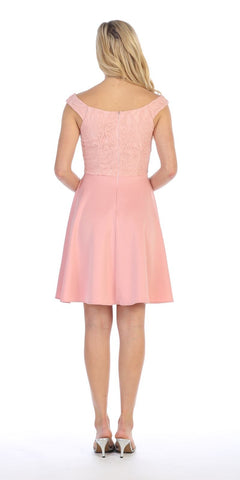 Blush V-Neck Lace Top Homecoming Short Dress