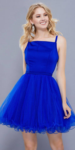 Straight Neck Short Poofy Homecoming Dress Spaghetti Strap Royal Blue