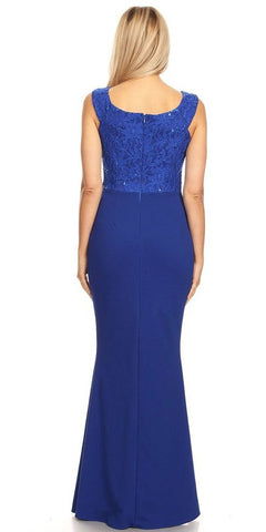 Royal Blue V-Neck Mermaid Long Formal Dress Sleeveless