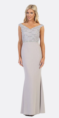 Silver V-Neck Mermaid Long Formal Dress Sleeveless