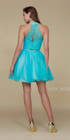 Turquoise Halter High Neckline Lace Crop Top Two-Piece Short Prom Dress Back View