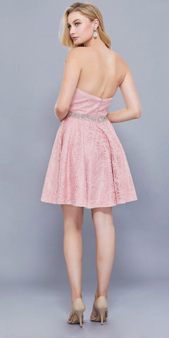 Rose Embellished Waist Strapless Lace Homecoming Short Dress