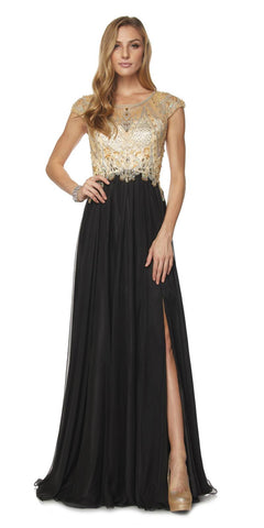 Beaded Cap Sleeved Long A-line Prom Dress with Slit Black