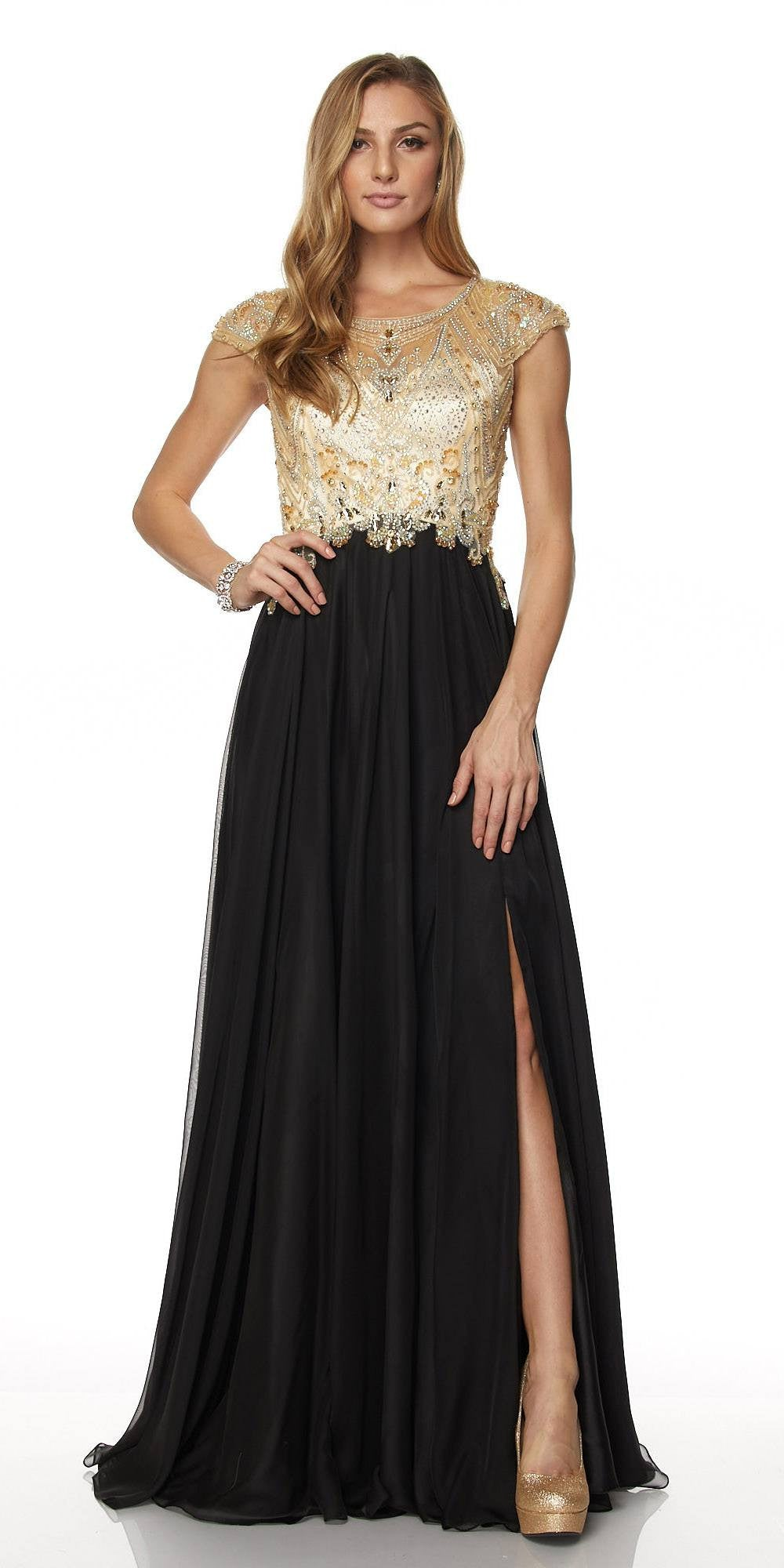 Juliet 636 Black Beaded Bodice Cap Sleeve Prom Gown with Slit and ...