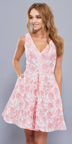 V-Neck Blush Print Short Homecoming Dress with Pockets
