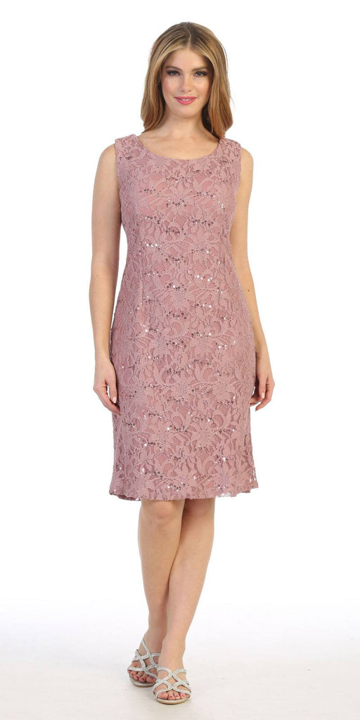 Celavie 6365 Short Lace Mauve Dress Semi-Formal With Poncho