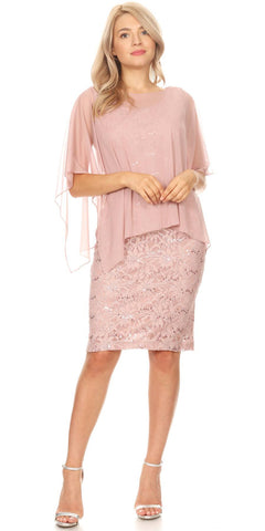 Lace Short Formal Poncho Dress Mauve