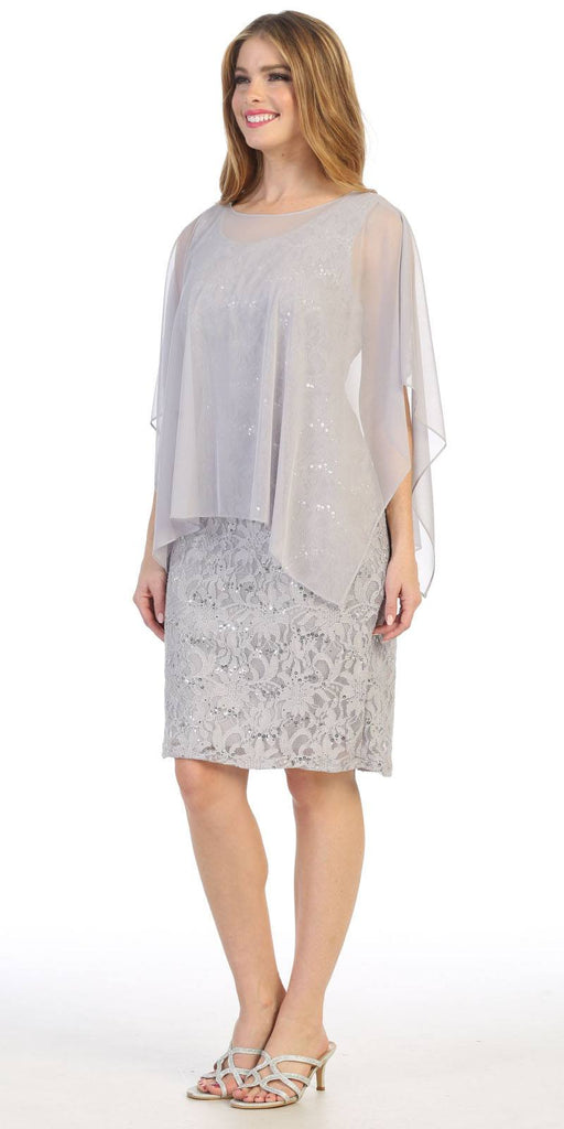 Celavie 6365 Short Lace Silver Dress Semi-Formal With Poncho