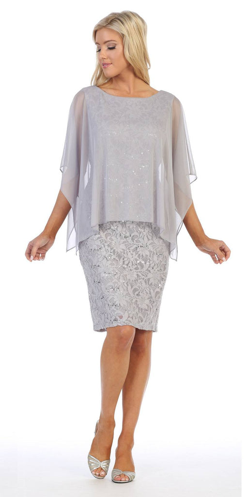 Lace Short Formal Poncho Dress Silver