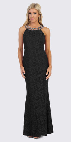 Black Lace Long Formal Dress with Beaded Collar
