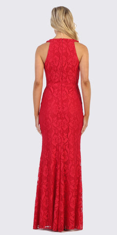 Red Lace Long Formal Dress with Beaded Collar