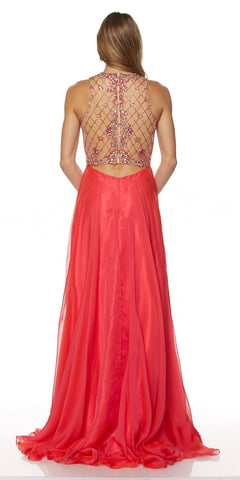 Juliet 637 Sleeveless A-Line Rhinestone Embellished Prom Gown Watermelon