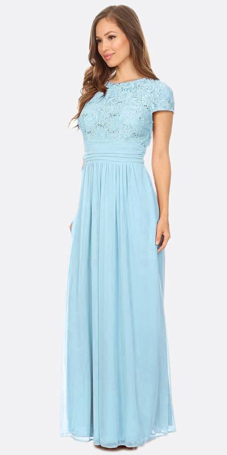 Celavie 6371 Baby Blue Long Formal Dress Lace Bodice Short Sleeves