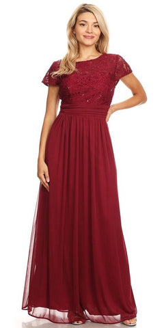 Burgundy Long Formal Dress Lace Bodice Short Sleeves