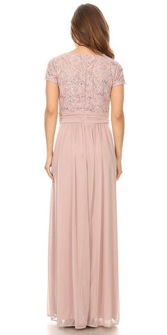 Mocha Long Formal Dress Lace Bodice Short Sleeves