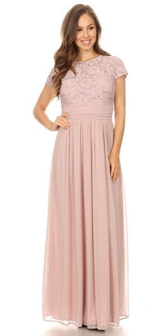 Off-Shoulder Long Sleeved Lace Formal Dress Blush