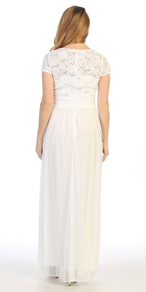 Off White Long Formal Dress Lace Bodice Short Sleeves