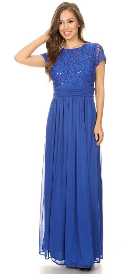 Royal Blue Long Formal Dress Lace Bodice Short Sleeves