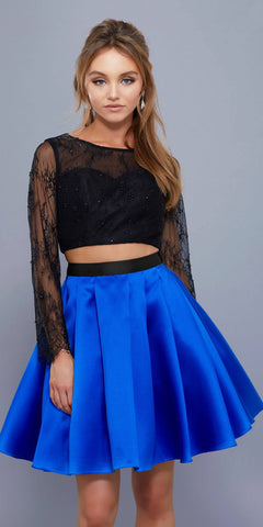 Long Sleeves Lace Top Two-Piece Short Prom Dress Royal-Black