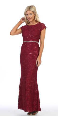 Cap Sleeved Long Formal Dress Embellished Waist Burgundy