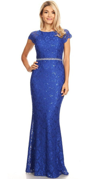 Cap Sleeved Long Formal Dress Embellished Waist Royal Blue