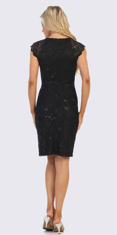 Beaded Waist Short Wedding Guest Dress Black