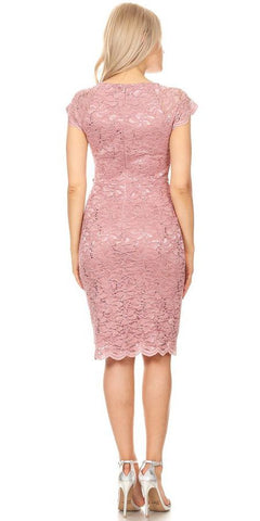 Beaded Waist Short Wedding Guest Dress Mauve