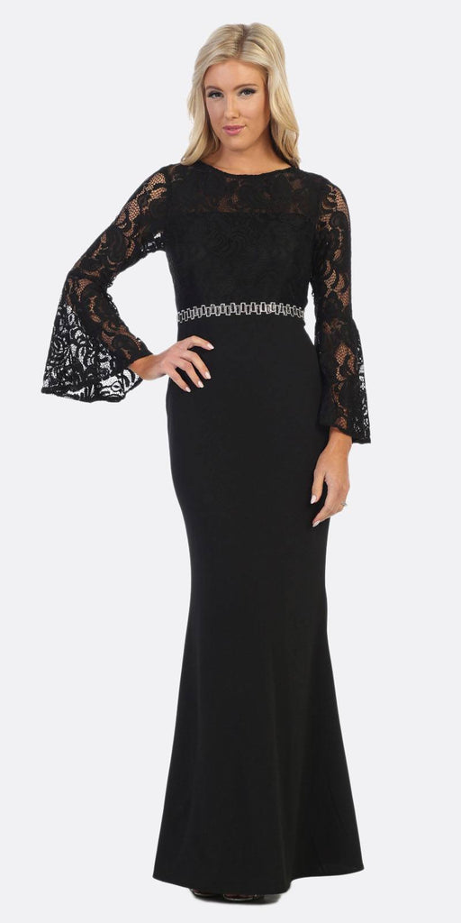 Celavie 6374 Black Beaded Waist Long Formal Dress with Long Bell Sleeves