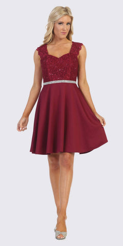 Burgundy Short Cocktail Dress with Queen Anne Neckline