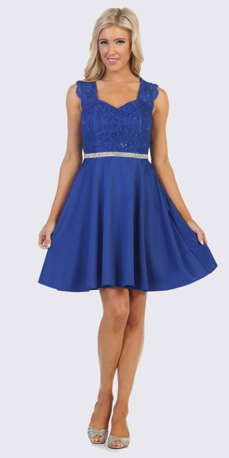 09a45f89c8c Royal Blue Short Cocktail Dress with Queen Anne Neckline. Tap to expand