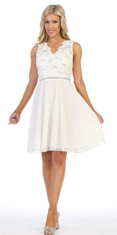 Off White Short Wedding Guest Dress with V-Neck