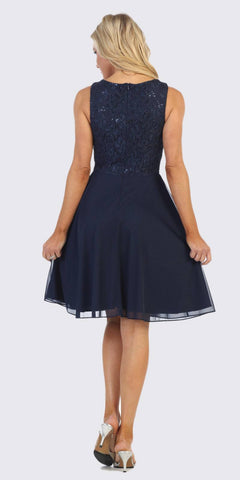 Navy Blue Short Wedding Guest Dress with V-Neck